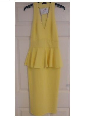 Ladies Brand New Yellow Plunge Style Over the Knee Bodycon Dress Size 8