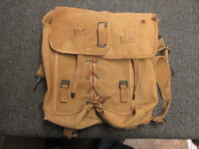 Wwi Us Army M1912 Cavalry Rations Bags Pack-Long 1918-Great Markings & Condition