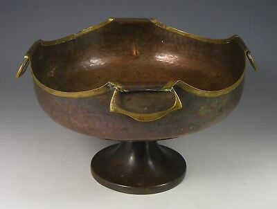 Antique Arts & Crafts British Made Copper Footed Bowl With Brass Rims