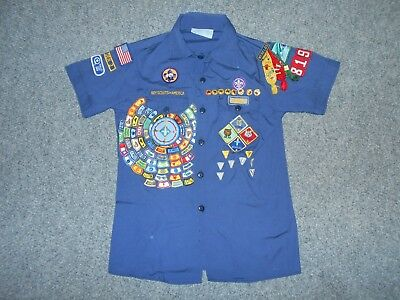 Boy Scouts America Vintage Youth Large Highly Decorated Shirt                K5