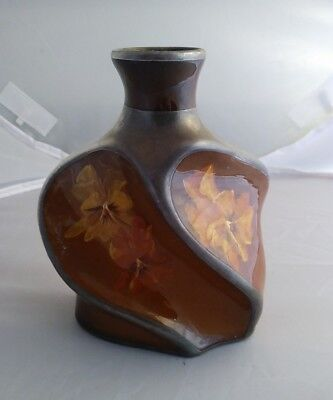 Owens Art Pottery Floral Decorated Silver Overlay Utopian Twist Cabinet Vase
