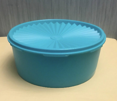 """Tupperware Servalier Seal 8"""" Cookie Canister Aqua Blue Instant Seal Rare New"""