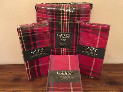 Ralph Lauren Baker Plaid Red 13 PC 60 x 120 Tablecloth and Napkins Set Christmas