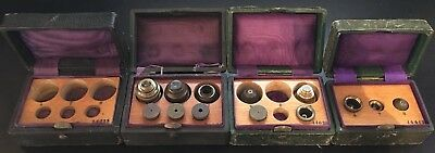 1840 Divisible Microscope Objective Lenses & Aperture Stops in Leather Cases