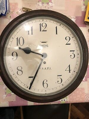 Vintage Army Naafi Wind Up Wall Clock By Smiths. Fully Working Order.