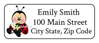 "30 Ladybug Address labels,stickers 1"" x 2.625"" each lady bug"