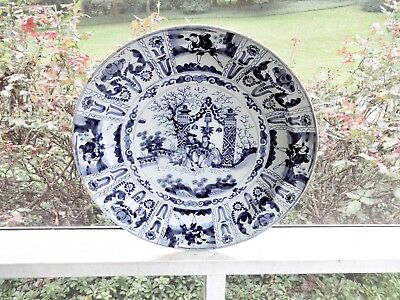 """Antique Early 1700's Delft Blue Large 16"""" Bowl,asian Chinese Japanese Scenery"""