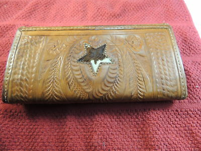 Purse Clutch Western Style  Hand Tooled Leather USED WOMENS