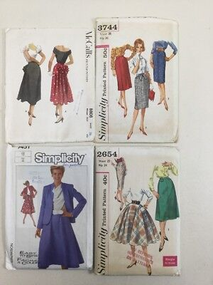 Lot Of 4 Vintage 50s 60s 80s Most Uncut Simplicity McCall's Skirt Dress Patterns