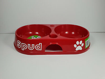 BNWT Petzplus Personalised Name Red Twin Bowl 32cm Made In Aus