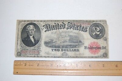 1917 $2 Two Dollar US Note Legal Tender Large Bill Jefferson Red Seal Circulated