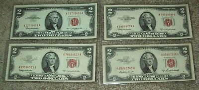 Lot of 4 Red Seal $2 United States Notes & 1953-A & C Currency Two Dollar Bills