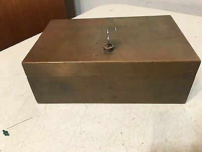 Vintage Bronze Or Brass Small Lock Box Desk Nice Patina With Key