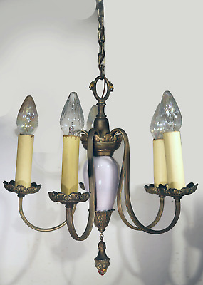 Vtg Antique Chandelier Brass Silver Plate 5 Arm French Ceiling Fixture Lamp