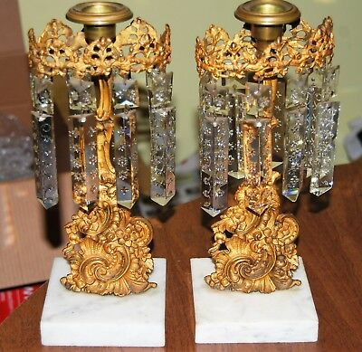 Pair of antique Girandoles - white marble base and all beautiful  prisms
