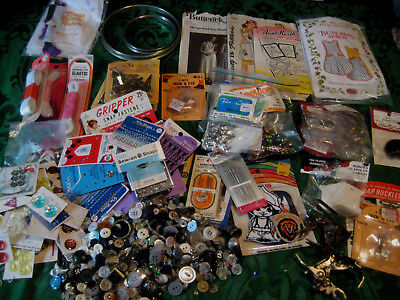 SEWING CRAFT Lot vintage notions buttons patterns elastic sequins machine parts