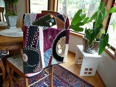 Vintage Hand Made Velvet Embroidered Crazy Quilt Absolutely Stunning!