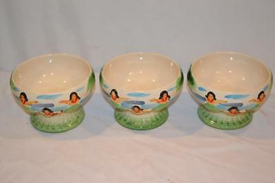 3 Vintage Orchids Of Hawaii Tiki Bowls # R-86   NEW OLD STOCK