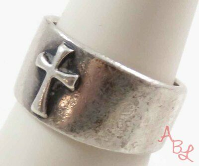 Sterling Silver Vintage 925 Religious Cross Band Ring Sz 7.75 (8.8g) - 740790