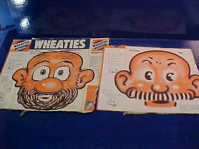 2 1940s WHEATIES Cereal BOX Uncut MASKS Back Panel ANDY GUMP + UNCLE WILLIE