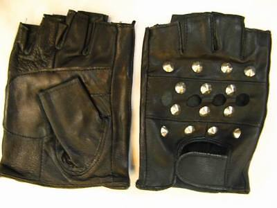 Gothic Punk Skull Glove Hand Puppet Halloween Cosplay Metal Leather ANGL9902