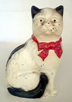Vintage Heavy Cast Iron KITTY CAT COIN BANK Sitting Red Ribbon