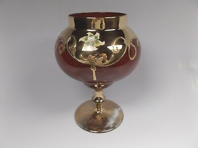 Vintage Murano Red Venetian Glass 24K Gilt Hand Painted Large Compote