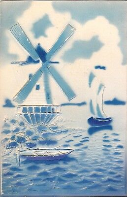 Dutch Scene:  Windmill & Sailboat - Holland, Netherlands - EMBOSSED & TINTED