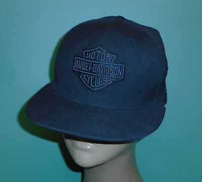 Harley Davidson Motorcycles Black NewERA 59fifty Fitted Baseball Hat Cap S 7-1/8