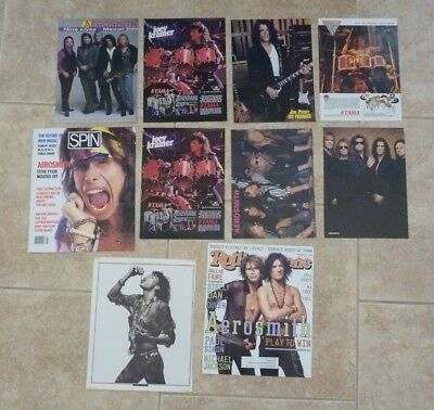 Lot of 10 Aerosmith Steven Tyler Joe Perry Magazine Pages Pictures