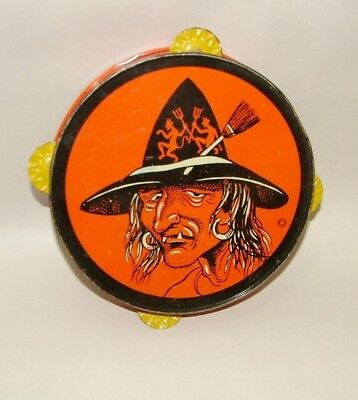 """% 1940's T. Conn Halloween  Usa Tin Tambourine Witch 7"""" Wide"""