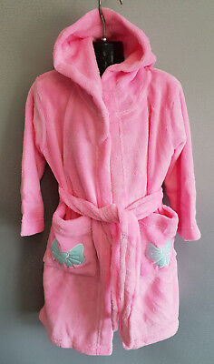 BNWT Girls Size 3 Soft Fluffy Pink Dressing Gown With Hood