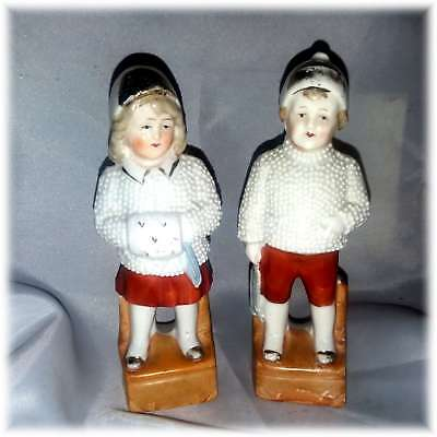 Antique German Bisque Porcelain Winter Snow Kids Boy And Girl Snowbaby Germany