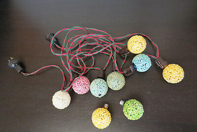 9 Vintage Ge X-Mas Ice Snowball Frosted Bulbs, C-7 , + 7 Light Cord,working!