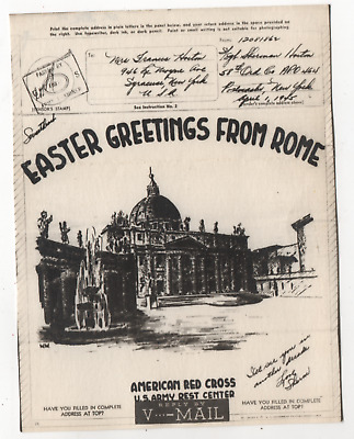 WW2 World War 2 Rome Fountain Red Cross Happy Easter Illustrated V-Mail
