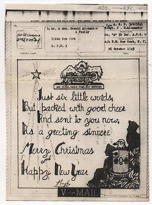 WW2 World War 2 Eagle Merry Christmas Happy New Year Illustrated V-Mail