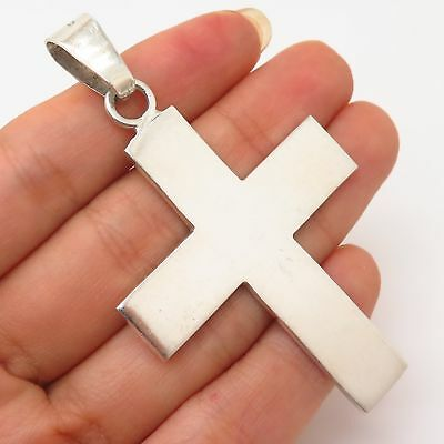 Vtg Mexico 925 Sterling Silver Large Cross Design Pendant