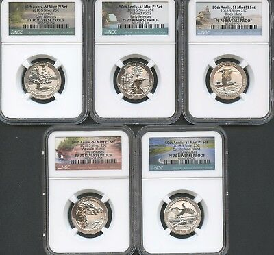 2018 S Silver Quarter Set 50TH ANNIV. LABEL (5 Pieces) REVERSE PROOF NGC PF70 ER