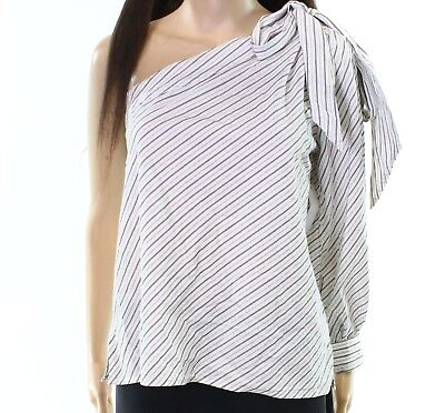 3ed9492266edb5 BP. NEW WHITE Black Womens XL One Shoulder Tie Sleeve Striped Top ...