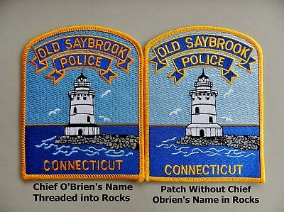 """Old Saybrook (CT) Police """"Lighthouse"""" Patches (Chief O'Brien Name in Rocks on 1)"""