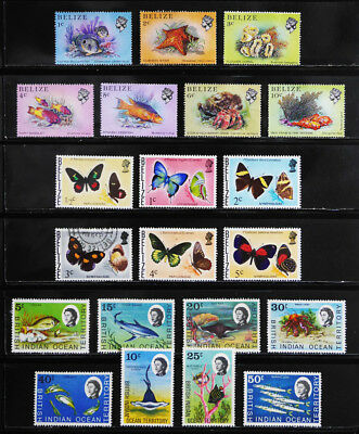 British Colonies: 60's-70's Stamp Collection, Belize, Indian Ocean Territory