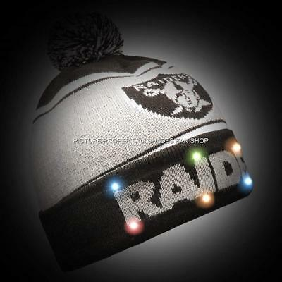 bb325eb06 OAKLAND RAIDERS NFL Big Logo Full Knit Light Up Beanie Free Replacement  Batterie