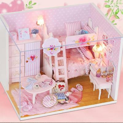 Miniature Wood Dollhouse DIY Kit Doll House Kids Xmas Gift Pink Girl Heart K4G4