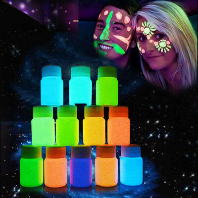 HOT 20ml Face Body Paint UV Blacklight Glow In The Dark Makeup Party Body Art