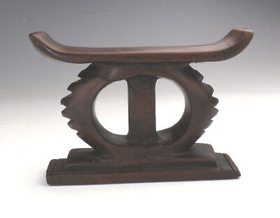 Antique African Ashati Tribe Small Carved Wood Headrest - Tribal Art - Early!