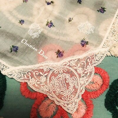 VTG Christian Dior Lace Handkerchief 17X17 Embroidered CD Logo Hanky Floral
