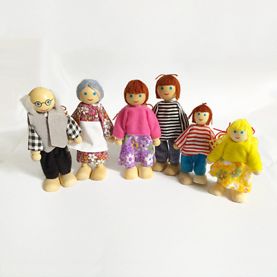 7PCS Wooden Furniture Dolls House Family Miniature Doll Toy For Kid Child Gifts