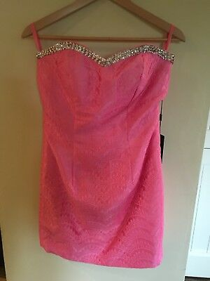 Ladies BAILEY BRIDAL PINK SILK MIX COCKTAIL DRESS US SIZE 10 New With Tags