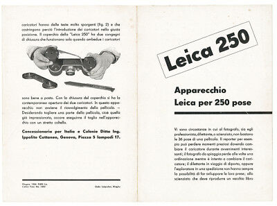Leitz, very rare booklet (4 pages) of the Leica 250 Reporter 1934 E739