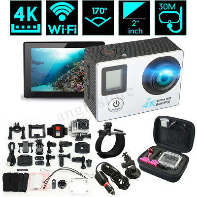 Action Sports Camera DV 2'' LCD Dual Screen 170° 4K HD WiFi With Remote Control